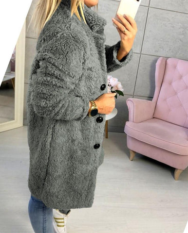 Image of Fashion Casual Pure Color  Long-Sleeved Suit Collar Long Plush Coat Gray m