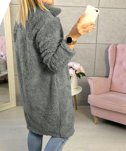 Image of Fashion Casual Pure Color  Long-Sleeved Suit Collar Long Plush Coat Gray l