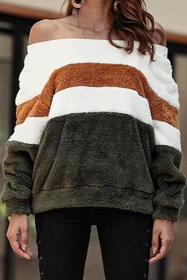 Off Shoulder  Striped Sweaters Green s