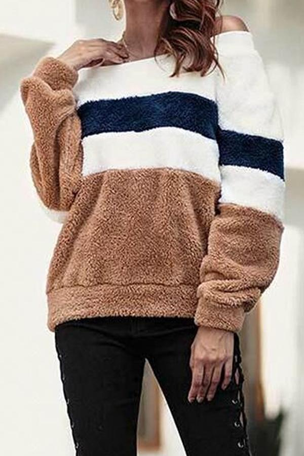 Off Shoulder  Striped Sweaters Khaki s