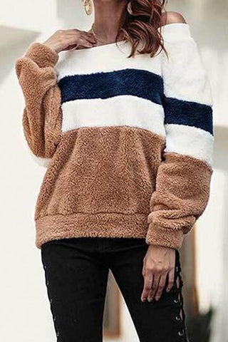 Image of Off Shoulder  Striped Sweaters Khaki s
