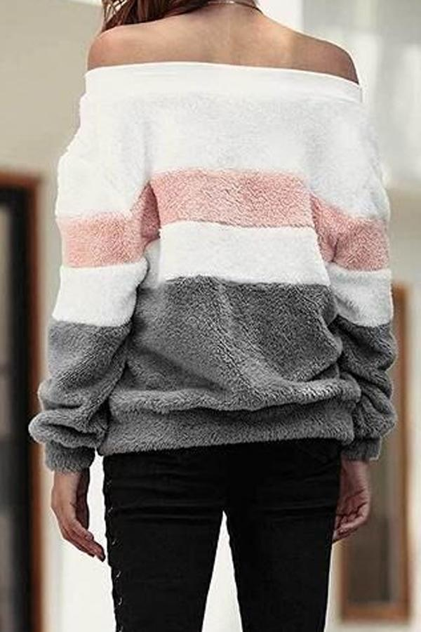 Off Shoulder  Striped Sweaters Gray m