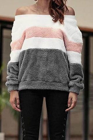 Image of Off Shoulder  Striped Sweaters Gray s