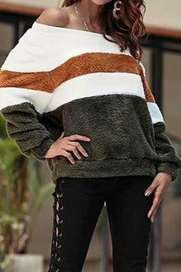 Off Shoulder  Striped Sweaters Green m
