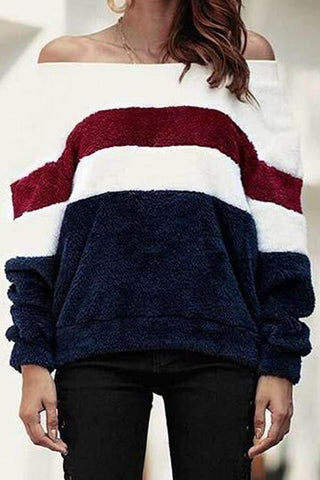 Image of Off Shoulder  Striped Sweaters