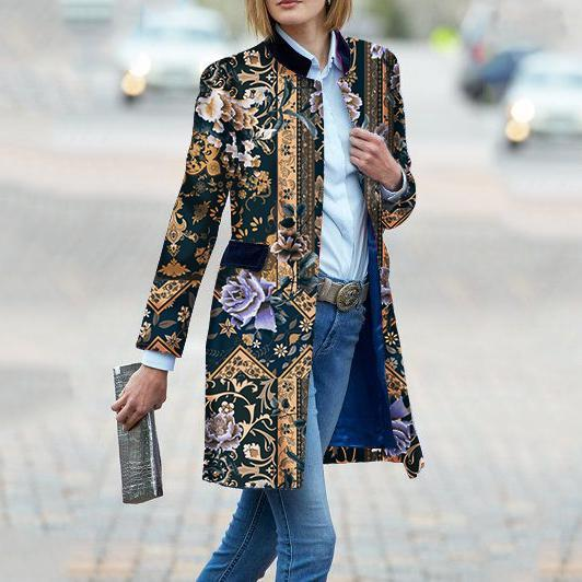 Fashion Floral Pattern Printed Long Sleeve Coat Same As Photo m