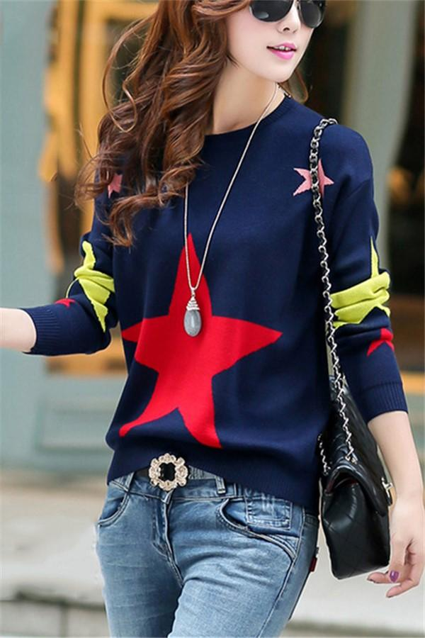 Casual Color Matching Star Print Pullover Knitted Sweater Royal Blue one size