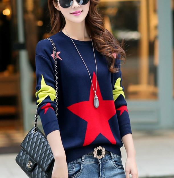 Casual Color Matching Star Print Pullover Knitted Sweater Red one size