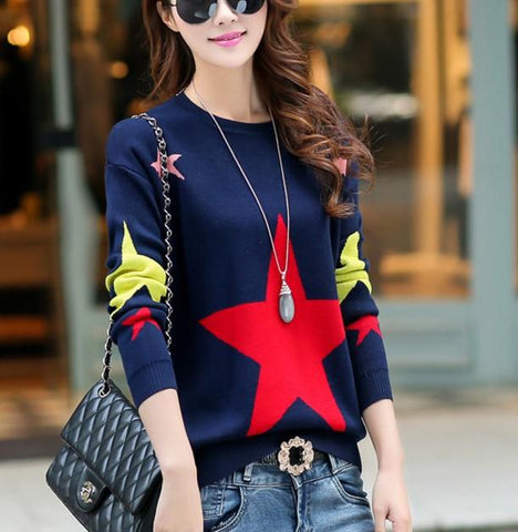 Image of Casual Color Matching Star Print Pullover Knitted Sweater Red one size