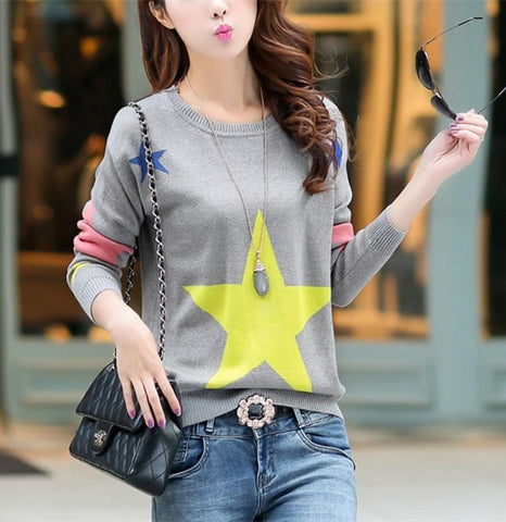 Image of Casual Color Matching Star Print Pullover Knitted Sweater