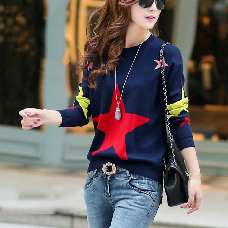 Casual Color Matching Star Print Pullover Knitted Sweater Gray one size