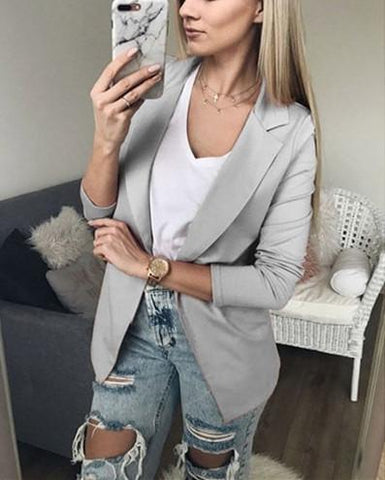 Image of Casual Pure Color Slim Suit With Long Sleeves And Thin Lapel Pink s