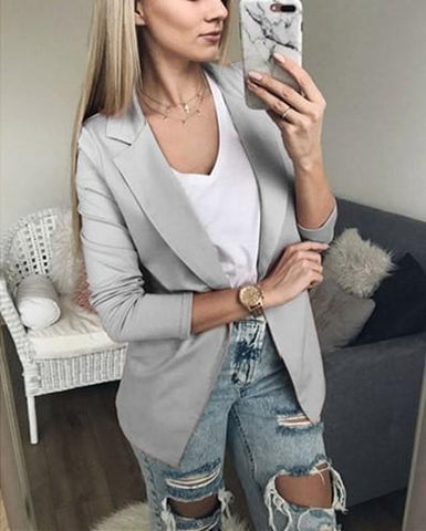 Image of Casual Pure Color Slim Suit With Long Sleeves And Thin Lapel Gray xl