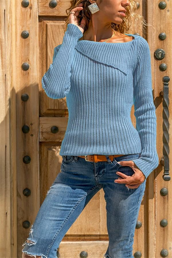 Casual Pure Color Slim Long Sleeve Knitted Sweater Blue s