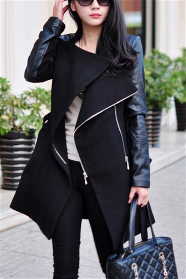 Casual Trim And Match Leather Fleece Overcoat Windbreaker Black m