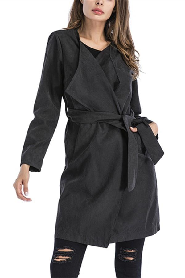 Casual Pure Color Long Cardigan Windbreaker With A Belt Black s