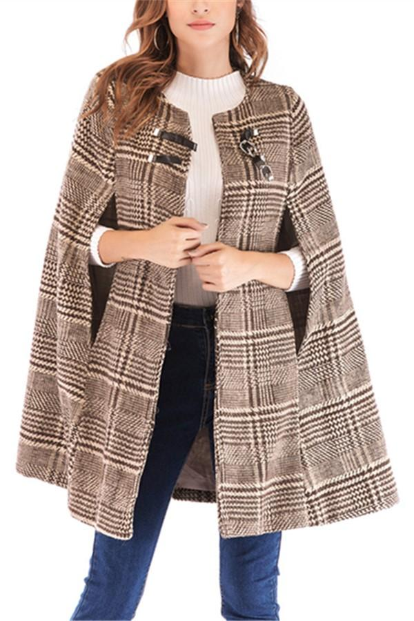 Casual Plaid Tweed Jacket With Leather Buckles Coat Camel s