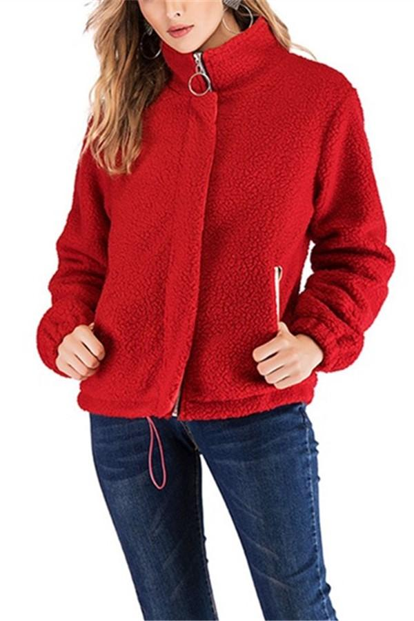 Casual Pure Color Zipper Stand Collar Lamb Plush Jacket Coat Red s