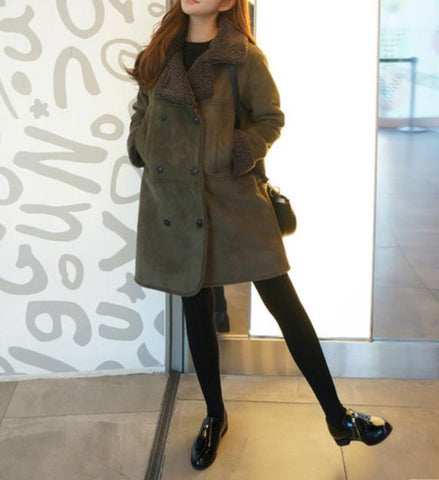 Image of Casual Pure Color Baggy Medium Long Lapel Suede Coat Army Green 2xl
