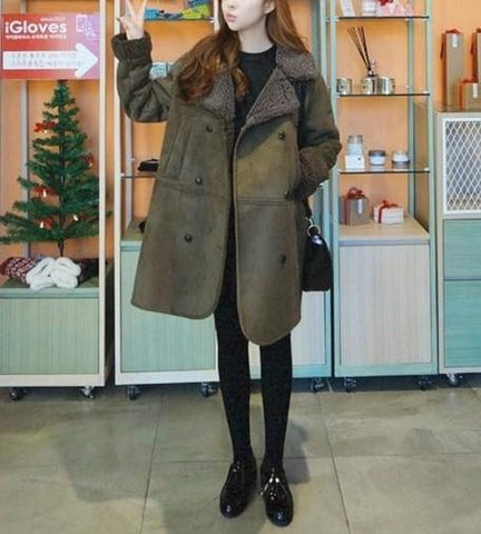 Image of Casual Pure Color Baggy Medium Long Lapel Suede Coat Army Green l