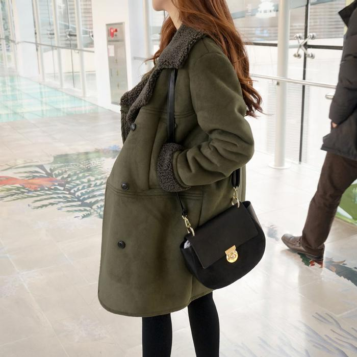 Casual Pure Color Baggy Medium Long Lapel Suede Coat Army Green m