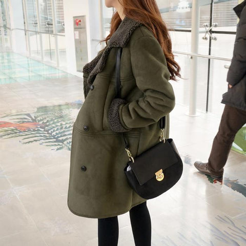 Image of Casual Pure Color Baggy Medium Long Lapel Suede Coat Army Green m