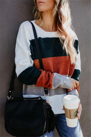 Image of Fashionable Color Matching Patchwork Striped Sweater Same As Photo s