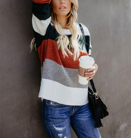 Image of Fashionable Color Matching Patchwork Striped Sweater Same As Photo l