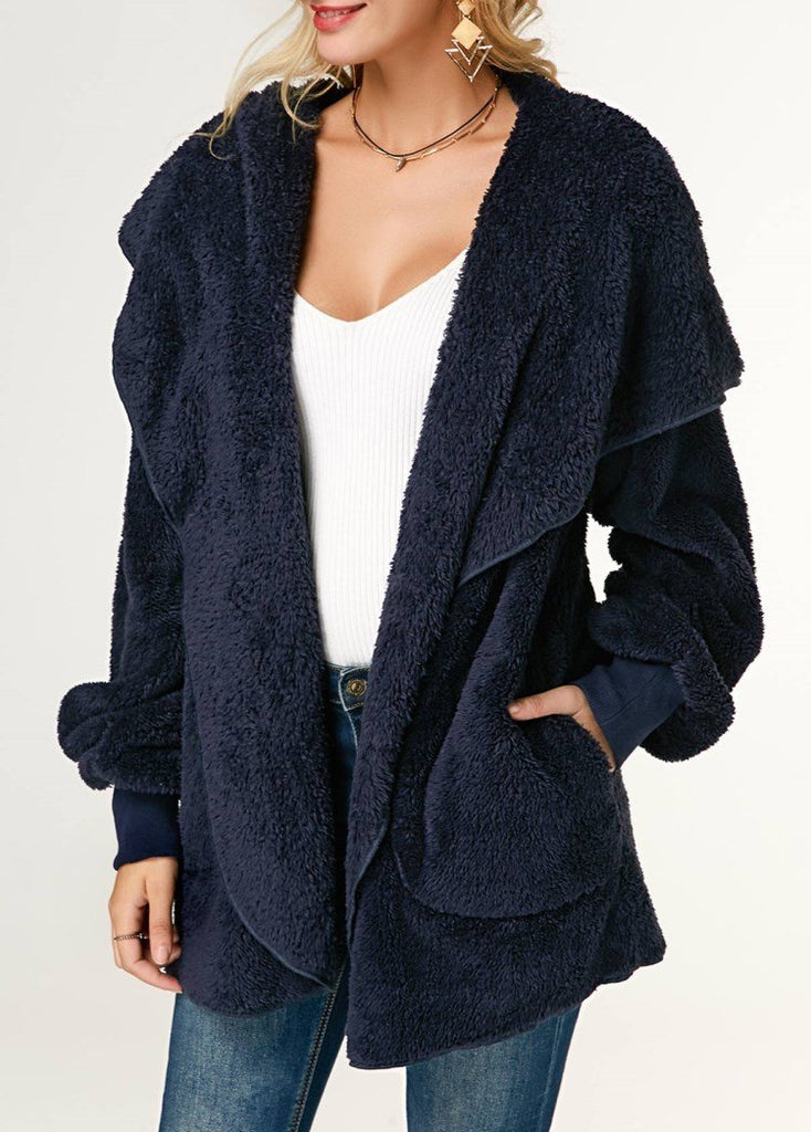 Casual Wool Warm Cotton Hooded Jacket Plush Coat Blue m