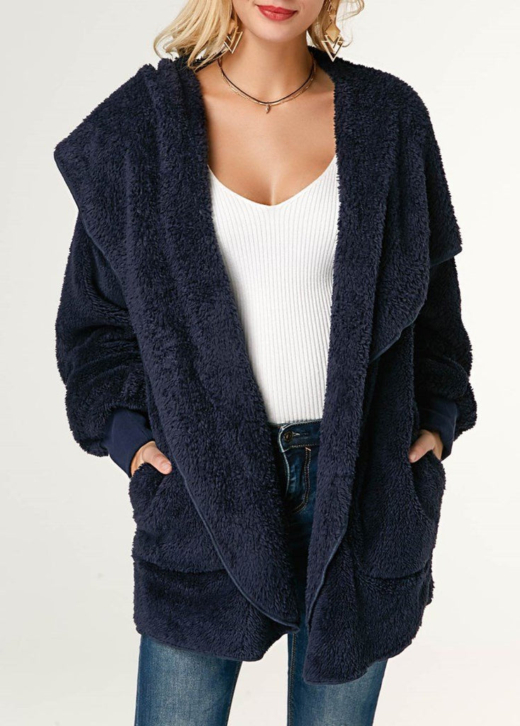 Casual Wool Warm Cotton Hooded Jacket Plush Coat Blue l