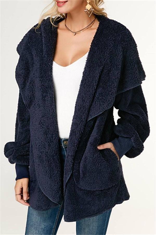 Casual Wool Warm Cotton Hooded Jacket Plush Coat Blue s