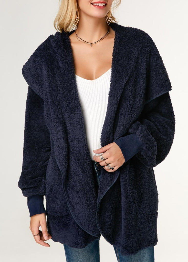 Casual Wool Warm Cotton Hooded Jacket Plush Coat Blue xl