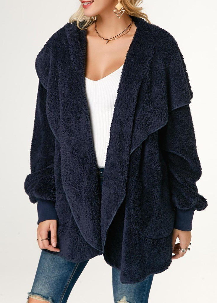 Casual Wool Warm Cotton Hooded Jacket Plush Coat Blue 2xl