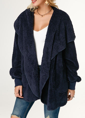 Image of Casual Wool Warm Cotton Hooded Jacket Plush Coat Blue 2xl