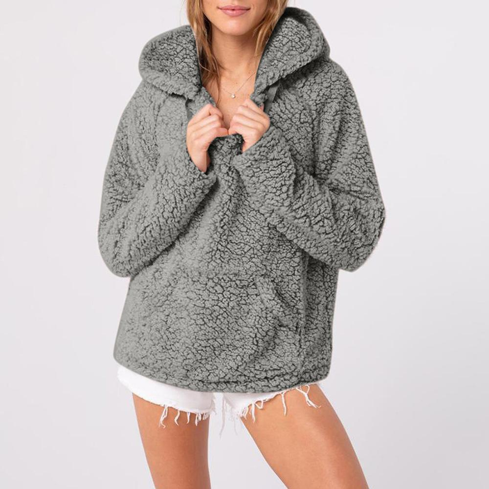 Casual Long Sleeve Plush Hooded Sweater Black m