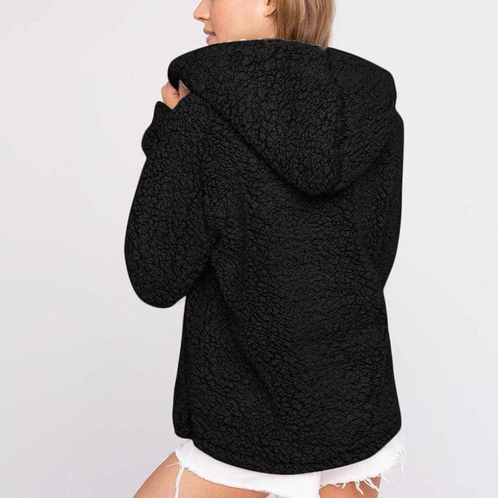 Casual Long Sleeve Plush Hooded Sweater Black s