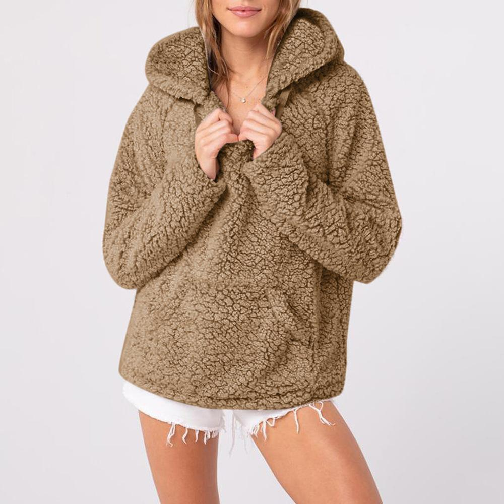 Casual Long Sleeve Plush Hooded Sweater Gray m