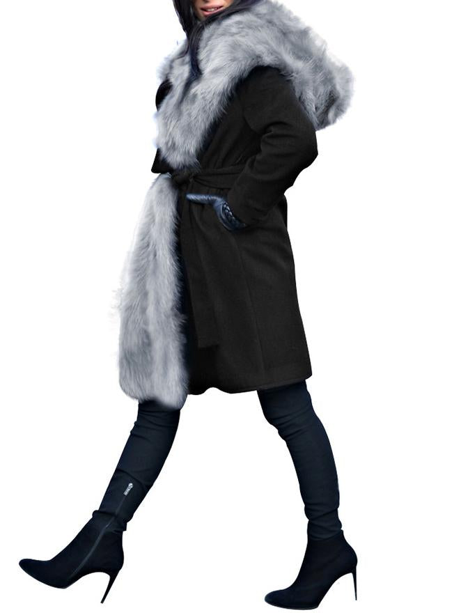 Fashion Warm Wool Collar And Hat Pure Colour Coat