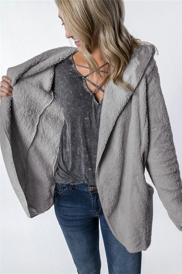 Casual Turtleneck Fur Hooded Cardigan Jacket Gray s