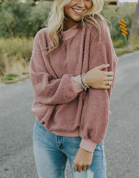 Casual Fashionable Round Neck Long Sleeve Plush Sweater Fleece Pink m