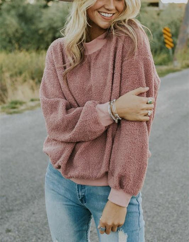 Image of Casual Fashionable Round Neck Long Sleeve Plush Sweater Fleece Pink m