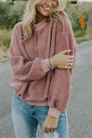 Image of Casual Fashionable Round Neck Long Sleeve Plush Sweater Fleece Pink s