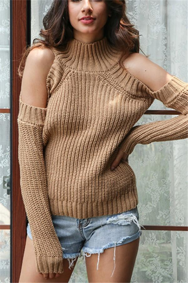Autumn And Winter Sexy   Off Theshoulder Knit Sweater Khaki one size