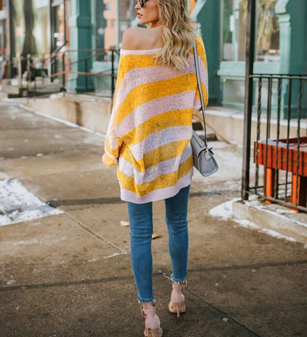 Image of Casual Baggy Striped   Knit Sweater Claret s