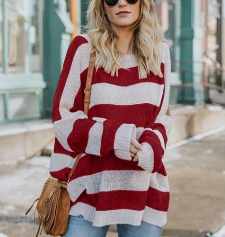 Image of Casual Baggy Striped   Knit Sweater Yellow s