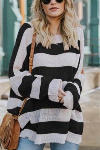 Image of Casual Baggy Striped   Knit Sweater Black s