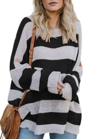Image of Casual Baggy Striped   Knit Sweater Black l