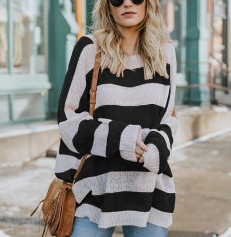 Casual Baggy Striped   Knit Sweater Black m