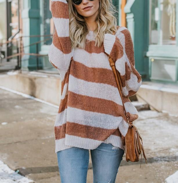 Casual Baggy Striped   Knit Sweater Claret l
