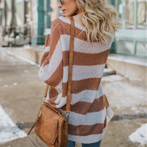 Image of Casual Baggy Striped   Knit Sweater Claret xl